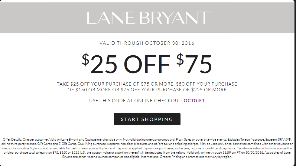 LaneBryant.com Promo Coupon $25 off $75 at Lane Bryant, or online via promo code OCTGIFT