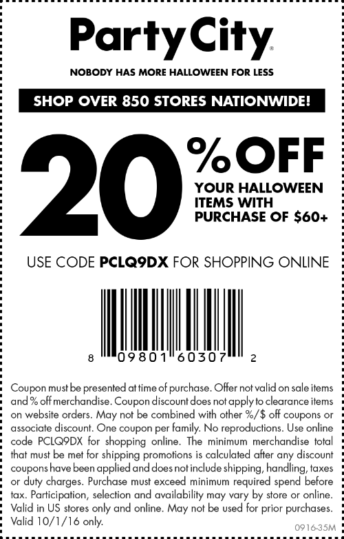 Party City Coupon June 2017 20% off $60 today at Party City, or online via promo code PCLQ9DX