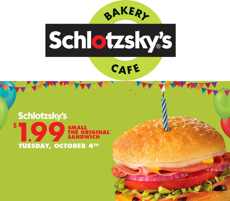Schlotzskys Coupon January 2018 $2 sandwich Tuesday at Schlotzskys