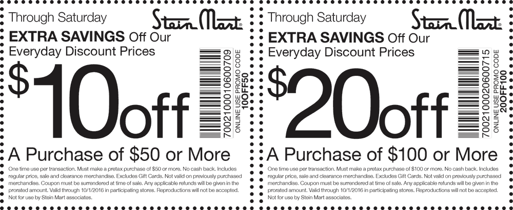 Stein Mart Coupon October 2017 $10 off $50 & more today at Stein Mart, or online via promo code 10OFF50