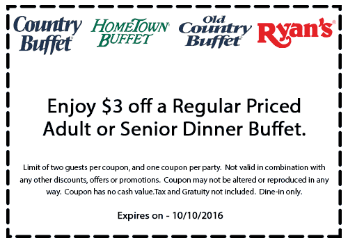 Old Country Buffet Coupon August 2017 $3 off dinner at HomeTown Buffet, Country Buffet, Ryans & Old Country Buffet
