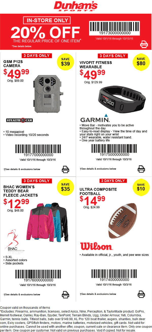 DunhamsSports.com Promo Coupon 20% off a single item at Dunhams Sports