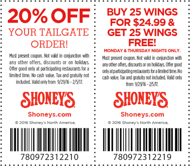 Shoneys.com Promo Coupon Second 25pc wings free & 20% off tailgate orders at Shoneys restaurants