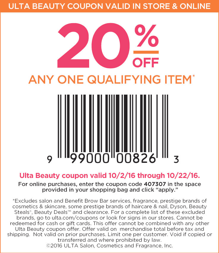 Ulta Beauty Coupon April 2017 20% off a single item at Ulta Beauty, or online via promo code 407307