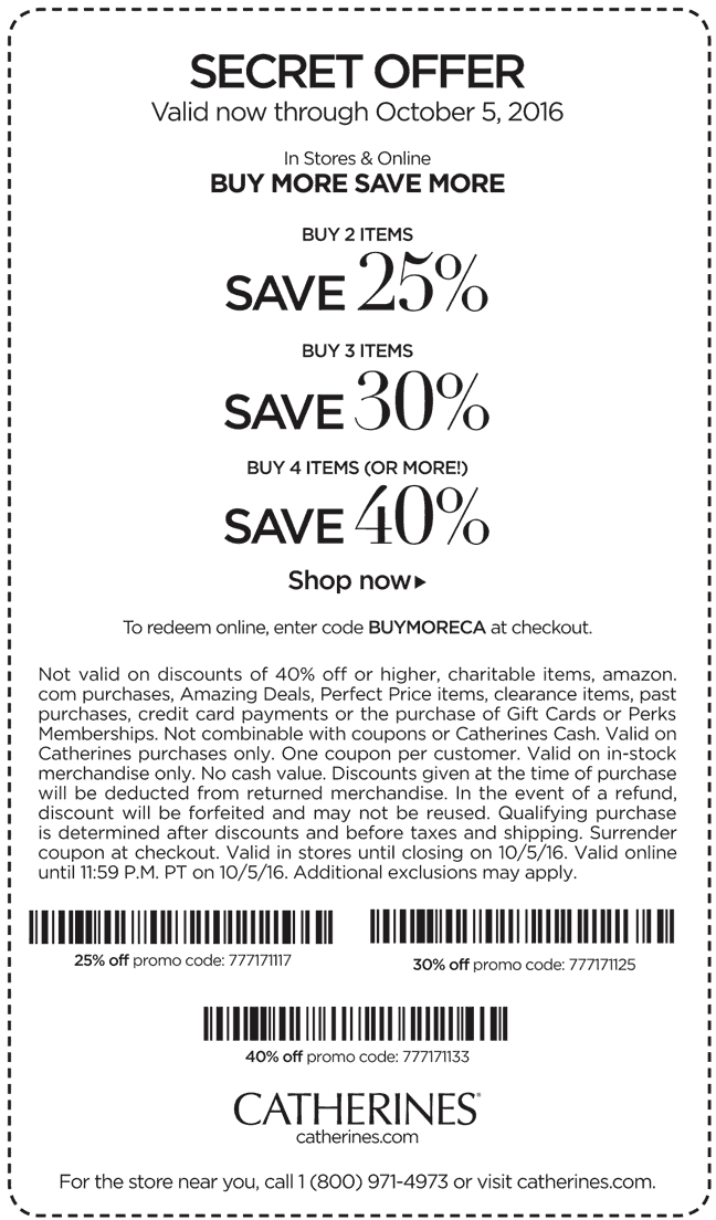 Catherines Coupon May 2017 25-40% off 2+ items at Catherines, or online via promo code BUYMORECA