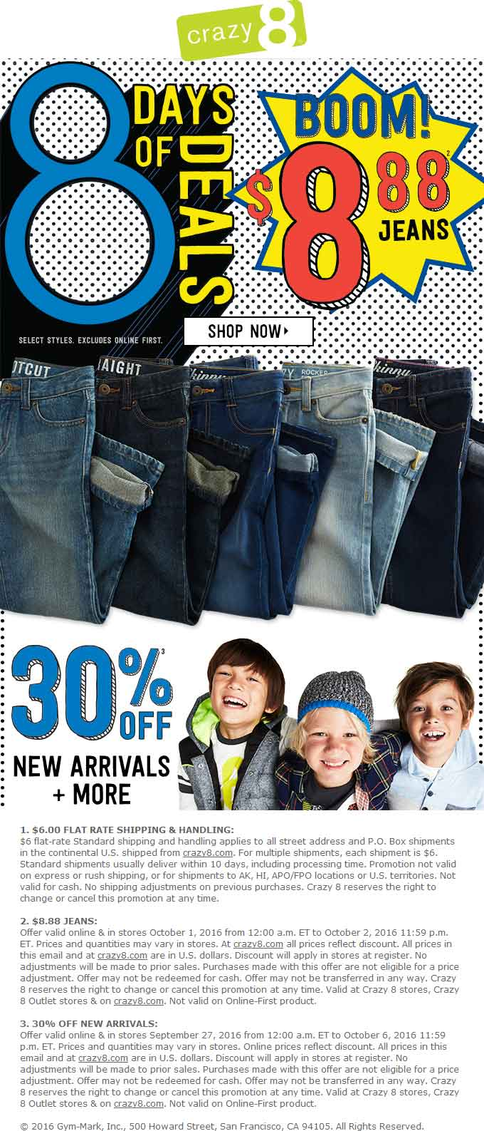 Crazy 8 Coupon April 2017 30% off new arrivals at Crazy 8 kidswear, ditto online