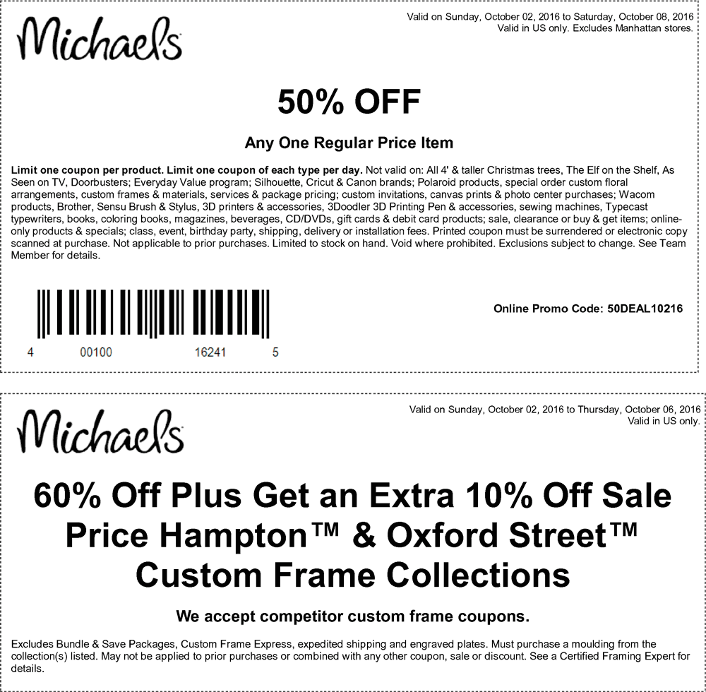 Michaels Coupon February 2017 50% off a single item at Michaels, or online via promo code 50DEAL10216