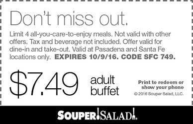 Souper Salad Coupon August 2018 $7.49 bottomless buffets at Souper Salad restaurants