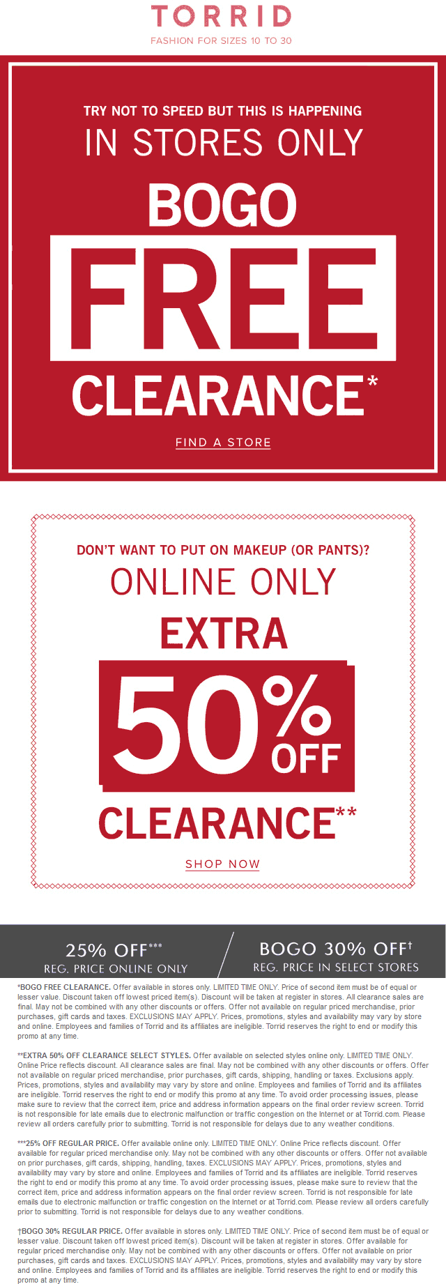 Torrid.com Promo Coupon Second clearance item free & more at Torrid, or second 50% off online
