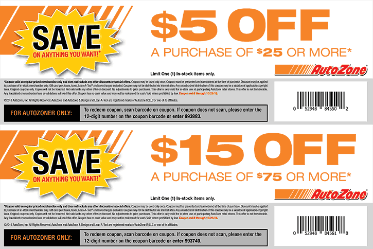 AutoZone Coupon January 2018 $5 off $25 & more at AutoZone