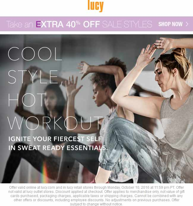 Lucy.com Promo Coupon Extra 40% off sale items at Lucy activewear, ditto online