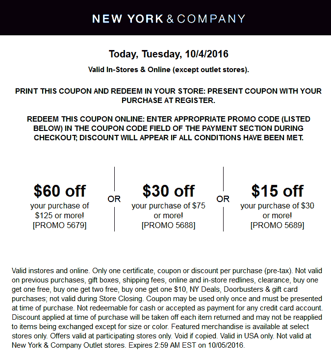 New York & Company Coupon December 2017 $15 off $30 & more today at New York & Company, or online via promo code 5689