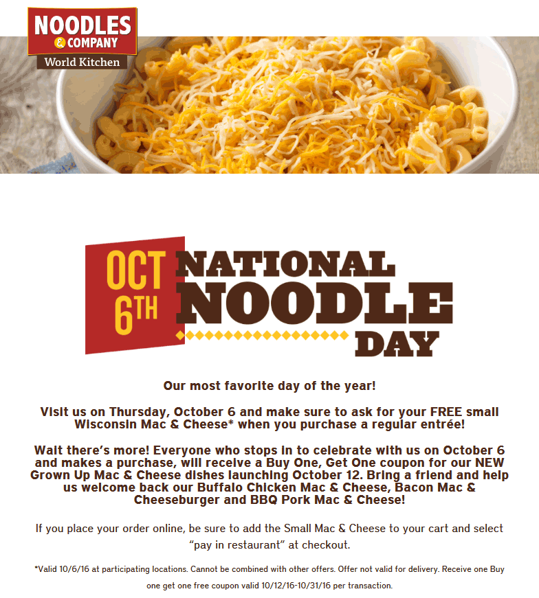 Noodles & Company Coupon January 2017 Free mac & cheese with your entree Thursday at Noodles & Company