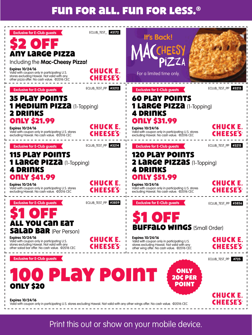 Chuck E. Cheese Coupon February 2017 35 tokens + pizza + drinks = $22 & more at Chuck E. Cheese