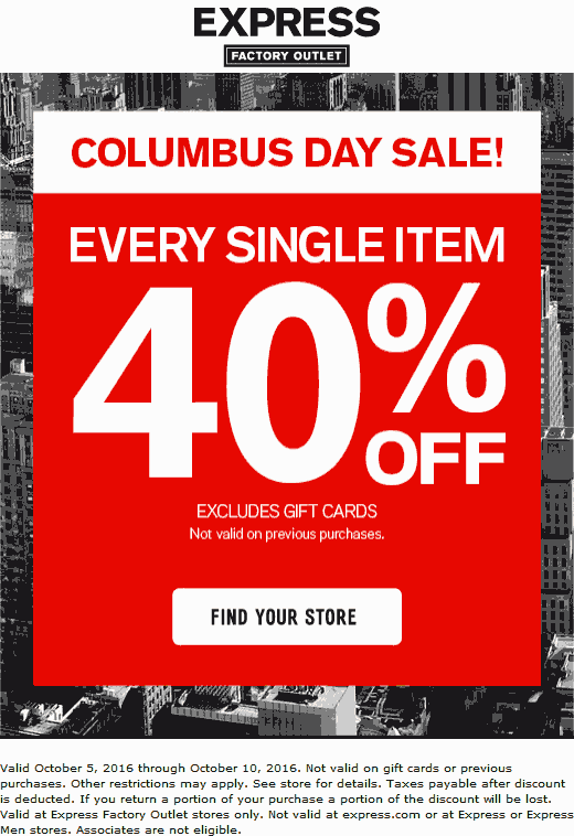Express Factory Outlet Coupon April 2018 Everything is 40% off at Express Factory Outlet, ditto online