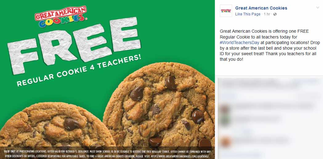 GreatAmericanCookies.com Promo Coupon Free cookie for teachers today at Great American Cookies