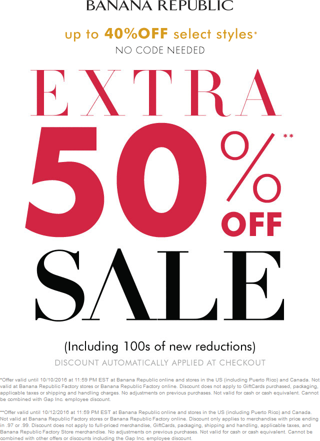 BananaRepublic.com Promo Coupon 40-50% off at Banana Republic, ditto online