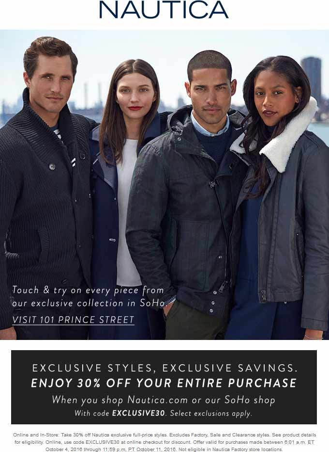 Nautica Coupon June 2017 30% off at Nautica, or online via promo code EXCLUSIVE30