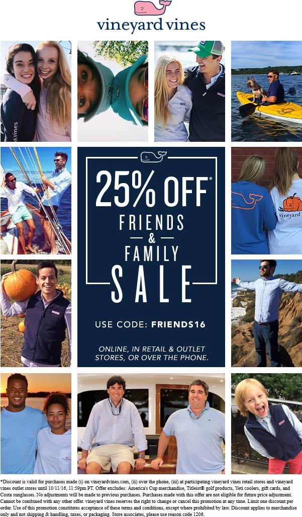 Vineyard Vines Coupon July 2017 25% off at Vineyard Vines, or online via promo code FRIENDS16