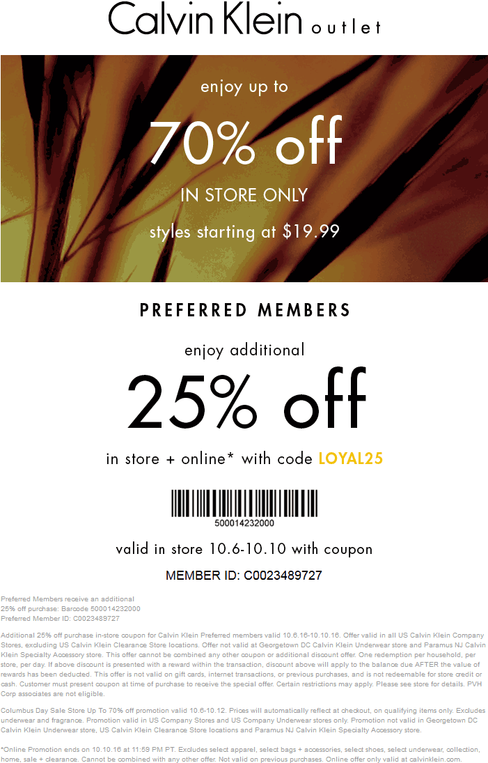 Calvin Klein Coupon February 2019 25-70% off at Calvin Klein Outlet, or online via promo code LOYAL25