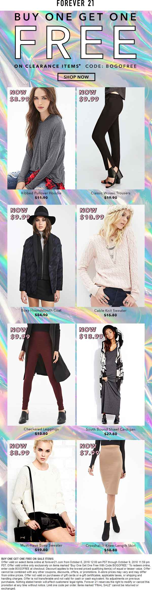 Forever21.com Promo Coupon Second clearance item free online at Forever 21 via promo code BOGOFREE