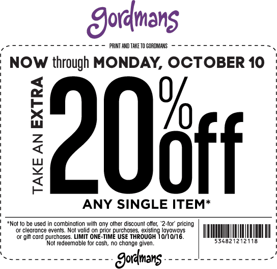 Gordmans Coupon November 2017 Extra 20% off a single item at Gordmans