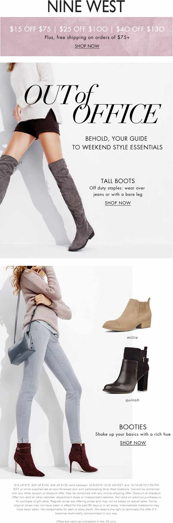 Nine West Coupon October 2016 $15 off $75 & more at Nine West, ditto online