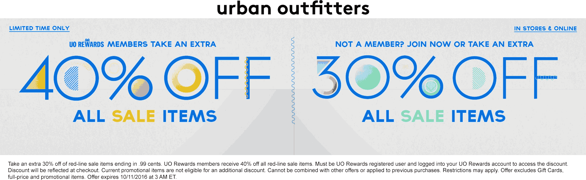 UrbanOutfitters.com Promo Coupon Extra 30% off sale items at Urban Outfitters, ditto online