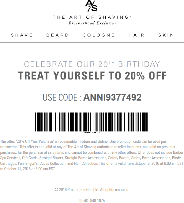 The Art Of Shaving Coupon December 2016 20% off at The Art of Shaving, or online via promo code ANNI9377492