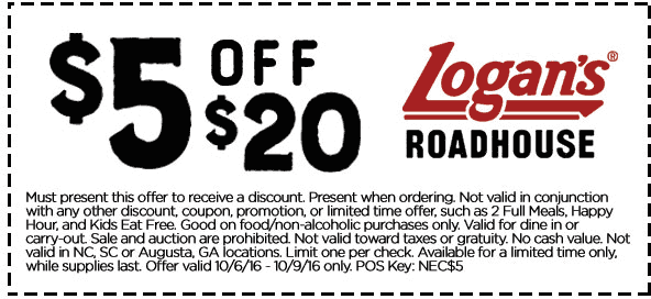 Logans Roadhouse Coupon December 2016 $5 off $20 at Logans Roadhouse restaurants
