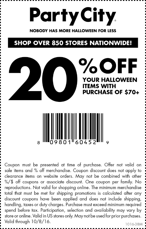Party City Coupon June 2018 20% off $70 on Halloween today at Party City