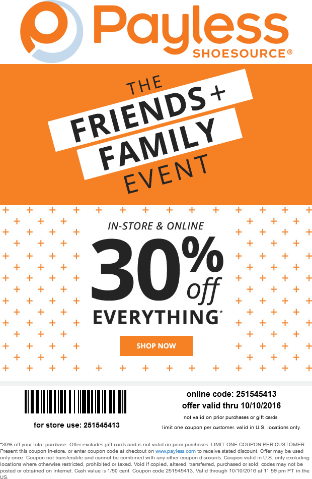 PaylessShoesource.com Promo Coupon 30% off everything at Payless Shoesource, or online via promo code 251545413