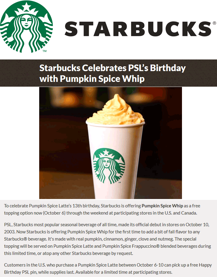 Starbucks.com Promo Coupon Free pumpkin spice whip topping on any drink at Starbucks