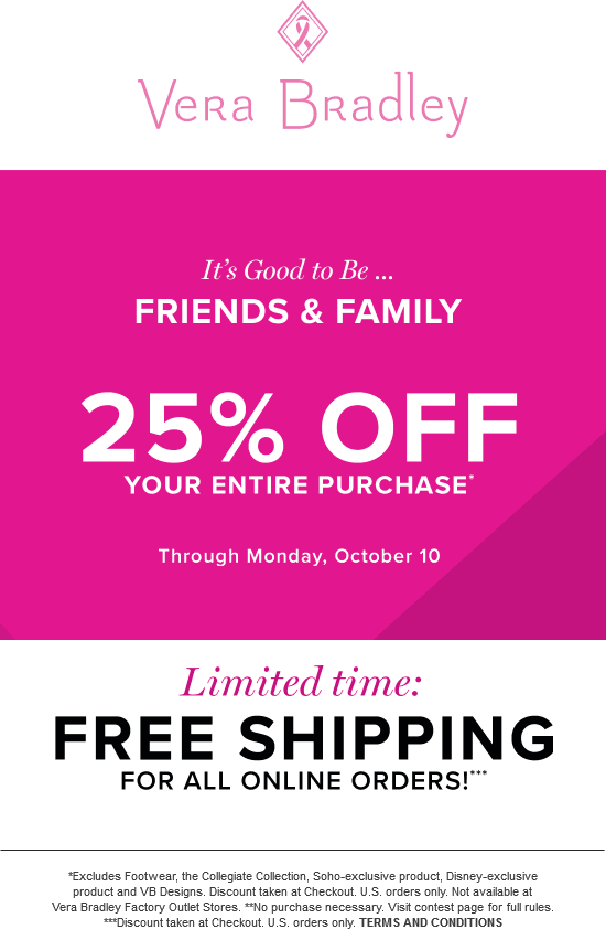 VeraBradley.com Promo Coupon 25% off at Vera Bradley, ditto online with free ship