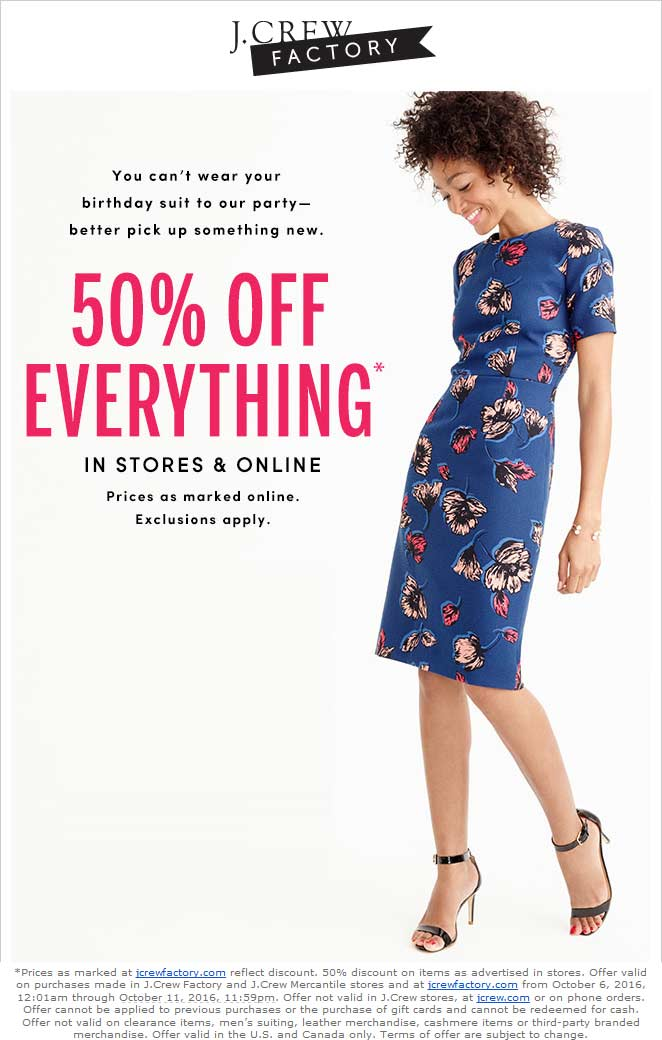 J.Crew Factory Coupon October 2017 50% off everything at J.Crew Factory, ditto online