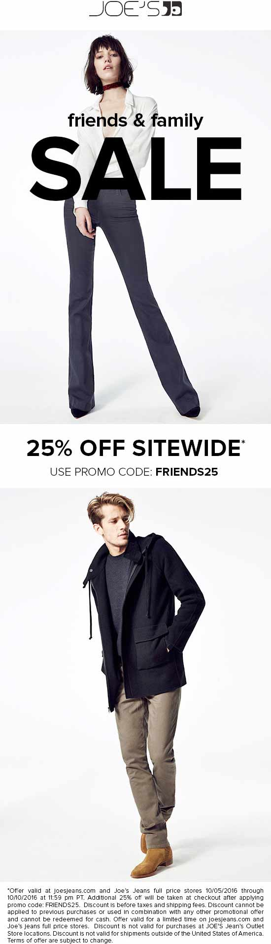 Joes Jeans Coupon March 2018 25% of at Joes Jeans, or online via promo code FRIENDS25