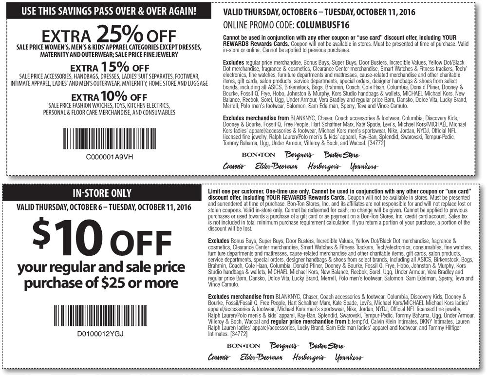 Carsons Coupon August 2017 Extra 25% off & more at Carsons, Bon Ton & sister stores, or online via promo code COLUMBUSF16