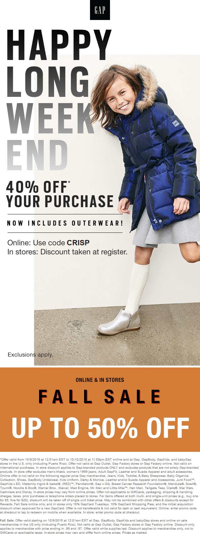 Gap Coupon January 2017 40% off today at Gap, GapBody, GapKids, and babyGap, or online via promo code CRISP
