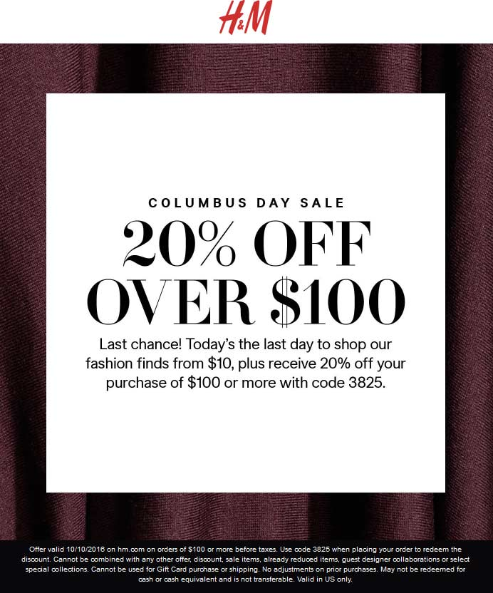 H&M.com Promo Coupon 20% off $100 online today at H&M via promo code 3825