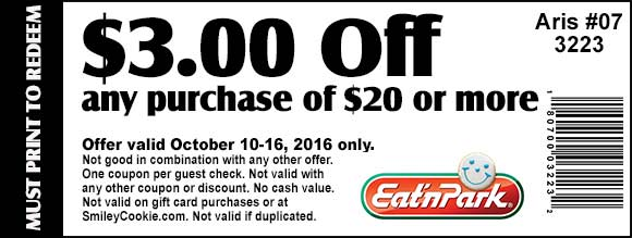 EatnPark.com Promo Coupon $3 off $20 at Eat n Park