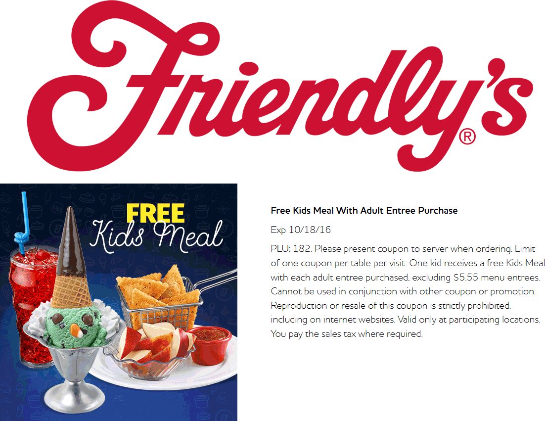 Friendlys.com Promo Coupon Free kids meal with yours at Friendlys
