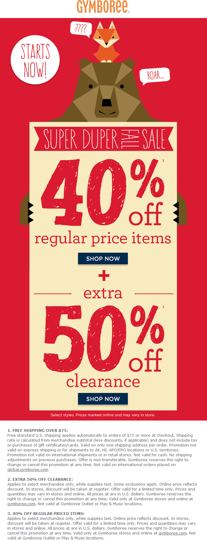 Gymboree.com Promo Coupon 40% off regular & extra 50% off clearance at Gymboree, ditto online