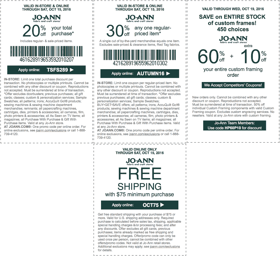 Jo-Ann Fabric Coupon January 2017 20% off everything & more at Jo-Ann Fabric, or online via promo code TSFS289