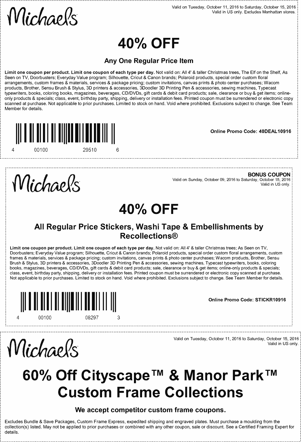 Michaels Coupon August 2017 40% off a single item & more at Michaels, or online via promo code 40DEAL10916