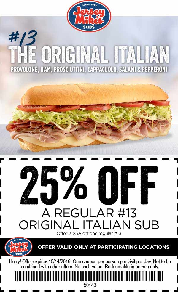 JerseyMikes.com Promo Coupon 25% off an Italian sub at Jersey Mikes
