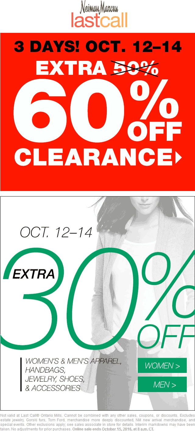 LastCall.com Promo Coupon Extra 30-60% off at Neiman Marcus Last Call, ditto online
