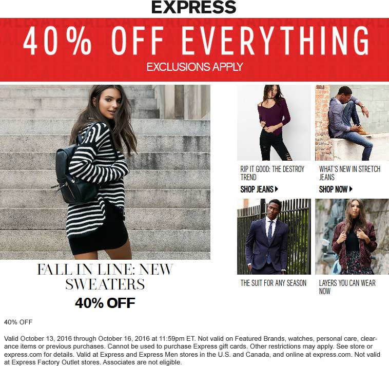 Express Coupon August 2018 40% off everything at Express, ditto online