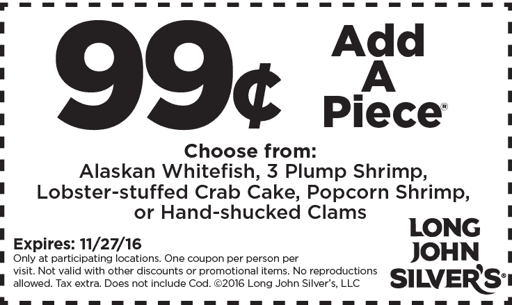 LongJohnSilvers.com Promo Coupon Add a piece for a buck at Long John Silvers