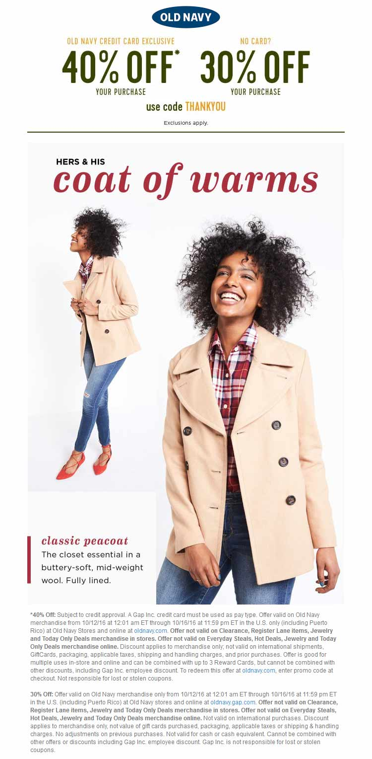 Old Navy Coupon January 2018 30% off at Old Navy, or online via promo code THANKYOU