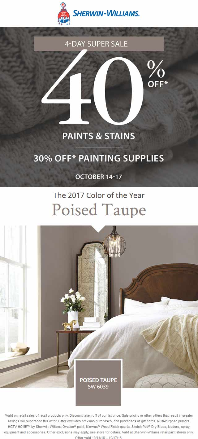 Sherwin Williams Coupon October 2017 40% off at Sherwin Williams